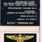 Matchbook Cover Fly Navy AOC Program Pilots Be Something Special