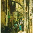 Israel Postcard Via Dolorosa Jerusalem People in the Street
