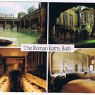 Bath England UK Postcard Roman Baths Great Bath Circular Kings Bath Multi View