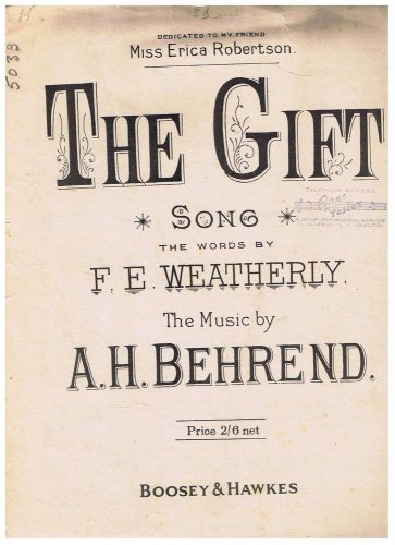 The Gift Sheet Music F Weatherly A Behrend