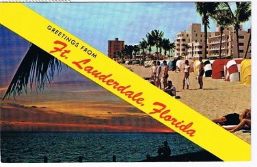 Florida Postcard Fort Lauderdale Beach & Sunset Banner Dual View