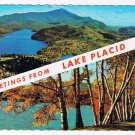 New York Postcard Lake Placid Greetings Dual View Whiteface Mt Mirror Lake