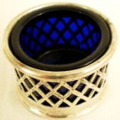 Cobalt Blue Open Salt Silverplate Sleeve Lattice