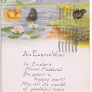 Easter Postcard Ducklings Black Yellow Pond Lilies Lily Pads Poem