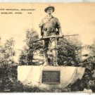 VINTAGE Postcard Hiker Memorial Monument, Woburn, Mass