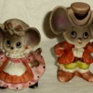"Two Dressed Mouse Vintage Figurines Male Cane 2 1/2"" Female Basket 2"" Unmarked"