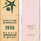 Matchbook Cover Brussels 1958 World Fair Exposition