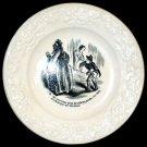 ANTIQUE French Black Cartoon Collector Plate circa 1870