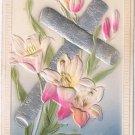 Berlin Ontario Postmark 1910 Easter Postcard Embossed Wooden Cross Lilies