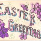 Easter Postcard Embossed Glitter Violets Flowers Early Illustrated Post Card