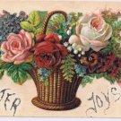 Easter Postcard Embossed Roses Flower Basket Glitter Easter Joys
