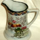 Oriental Scene Creamer Jug Pitcher Cherry Blossoms Boat Made in Japan