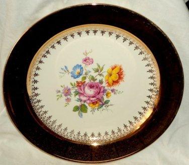 "Nautilus Collector Plate Floral Bouquet Lace Pattern 22k Gold Trim 10"" E53NB USA"