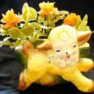 VINTAGE Yellow Lamb Nursery Planter with Flowers