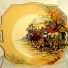 "Royal Winton Cake Plate with Handles English Hunting Scene 11"" x 10"""