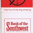 Vintage HOUSTON TEXAS Red Matchbook BANK OF THE SOUTHWEST Universal Matc