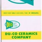 Vintage SAXONBURG PENNSYLVANNIA Matchbook DU-CO CERAMICS Universal Matc