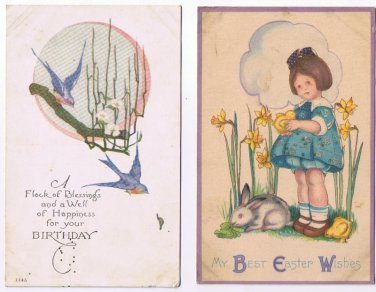 Birthday Easter Postcards (2) Bluebirds Girl Daffodils Rabbit Chick
