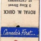 Vintage ST CATHERINES ONTARIO Matchbook STANDARD LIFE ASSURANCE Eddy Match