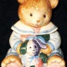 FITZ & FLOYD Teddy Bear Condiment Relish Pot Jar Spoon