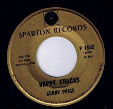 Kenny Price Happy Tracks 45 rpm The Clock Spartan Gold NM