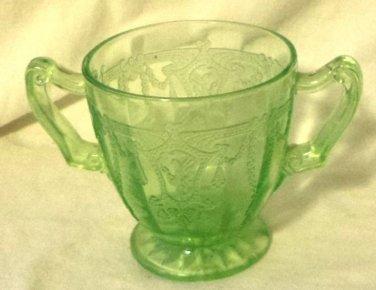 Hocking Green Depression Glass Sugar Bowl Cameo Ballerina