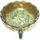 "Imperial Carnival Glass Quilted Iridized Green Pansy 5"" Round Nappe Candy Dish"