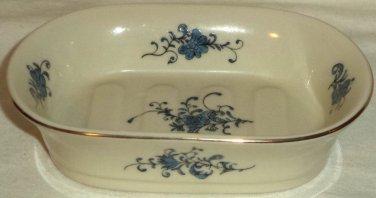 Takahashi White Blue French Flower Ceramic Vanity Soap Dish Hand Decorated