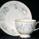 WEDGWOOD Belle Fleur Cup & Saucer Blue Flowers Made in England