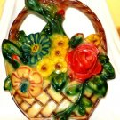 Chalkware Flower Basket Wall Hanging Ornament