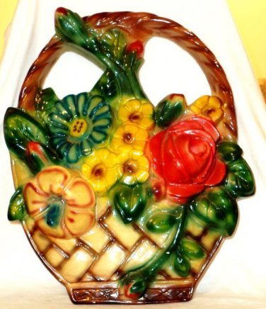 Chalkware Flower Basket Wall Hanging Ornament