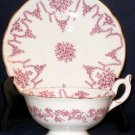 COALPORT Pink Red Art Deco Flowers Cup & Saucer