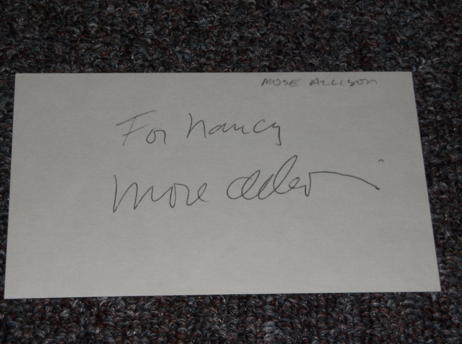 Mose Allison signed inscribed 3x5 card Blues Piano