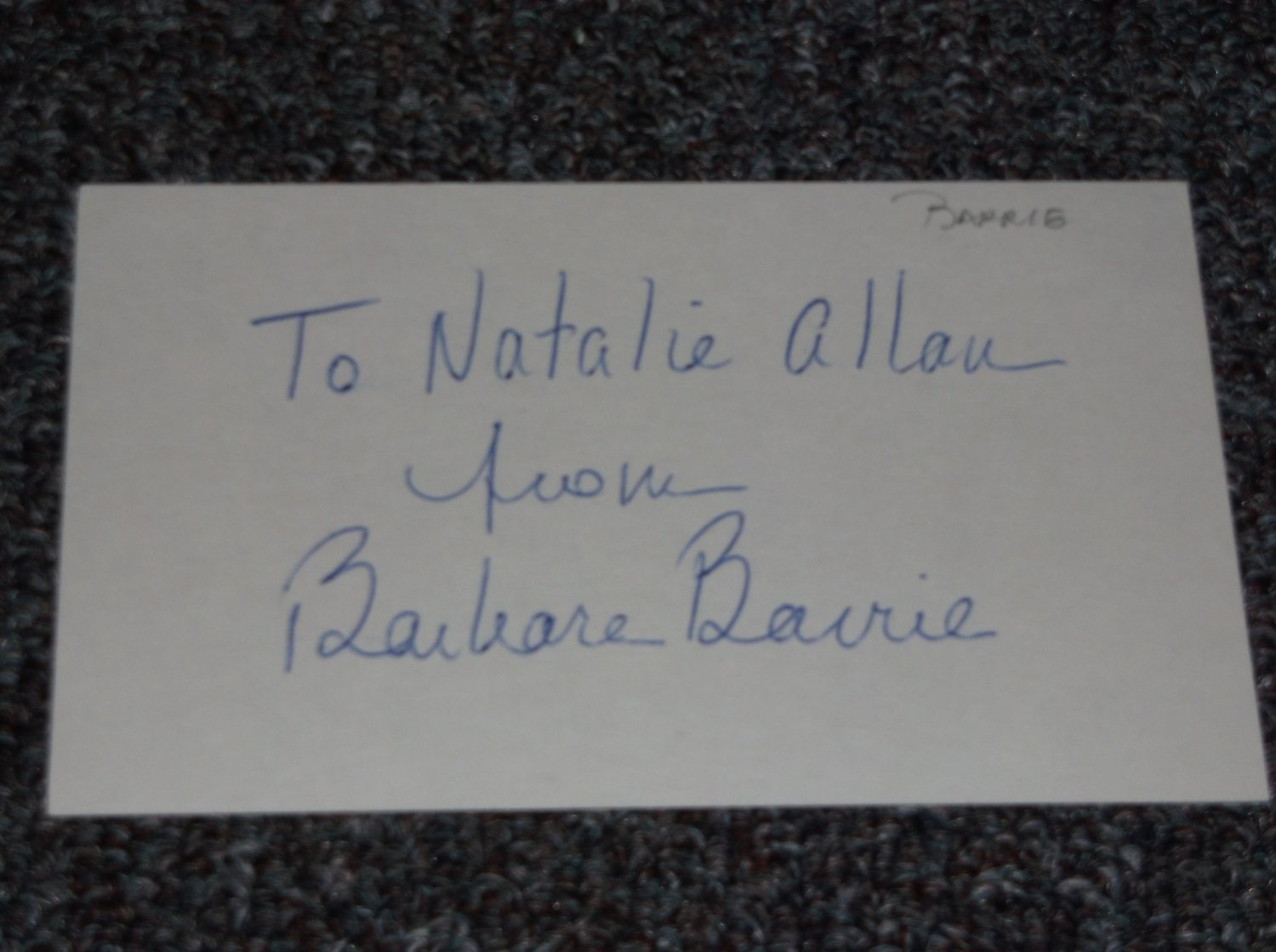Barbara Barrie signed inscribed 3x5 card, actress