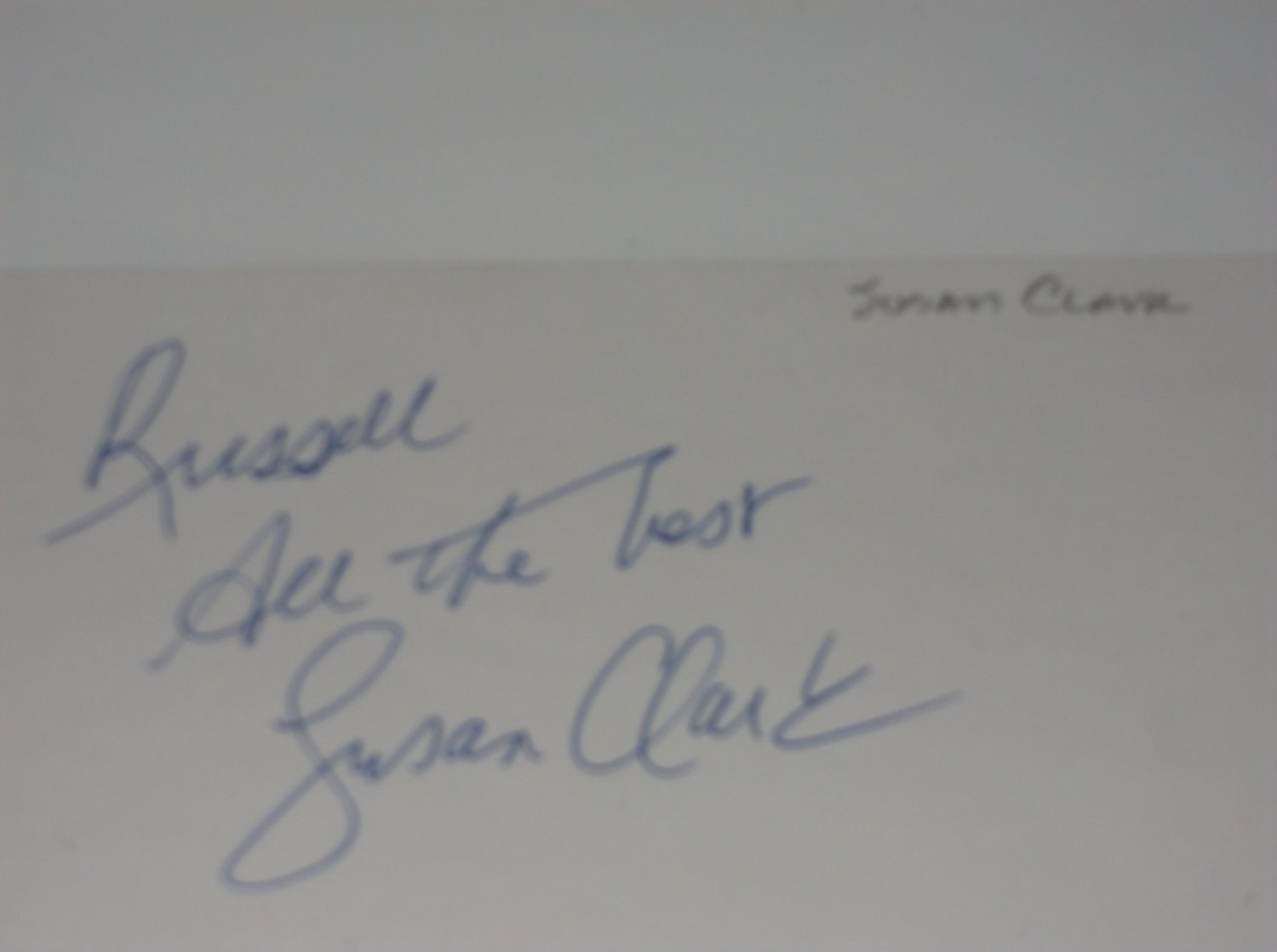 Susan Clark signed inscribed 3x5 card, Webster