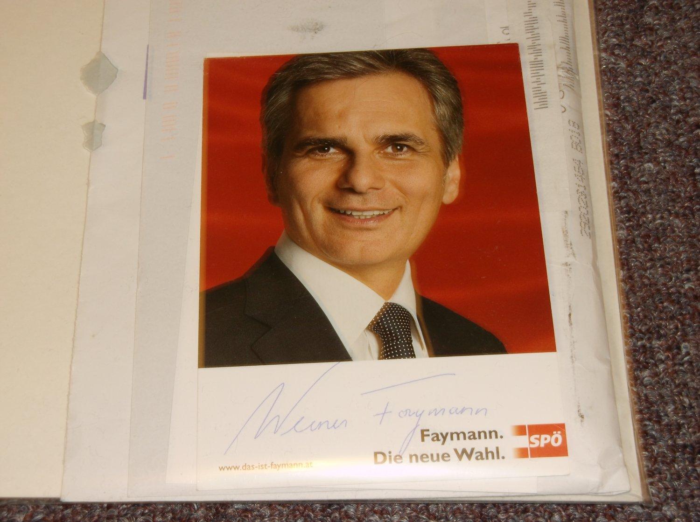 Werner Faymann autopen 4x6 photo, Austria