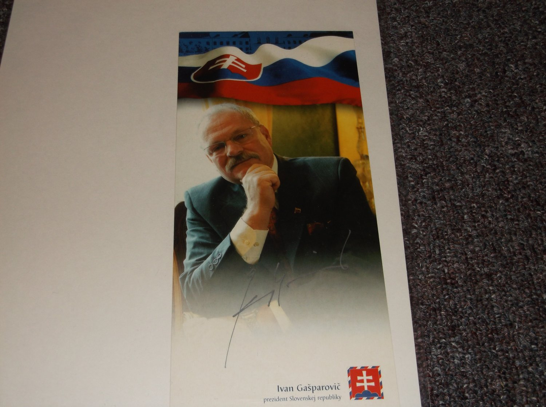 Ivan Gasparovic signed 4x8 photo Slovakia