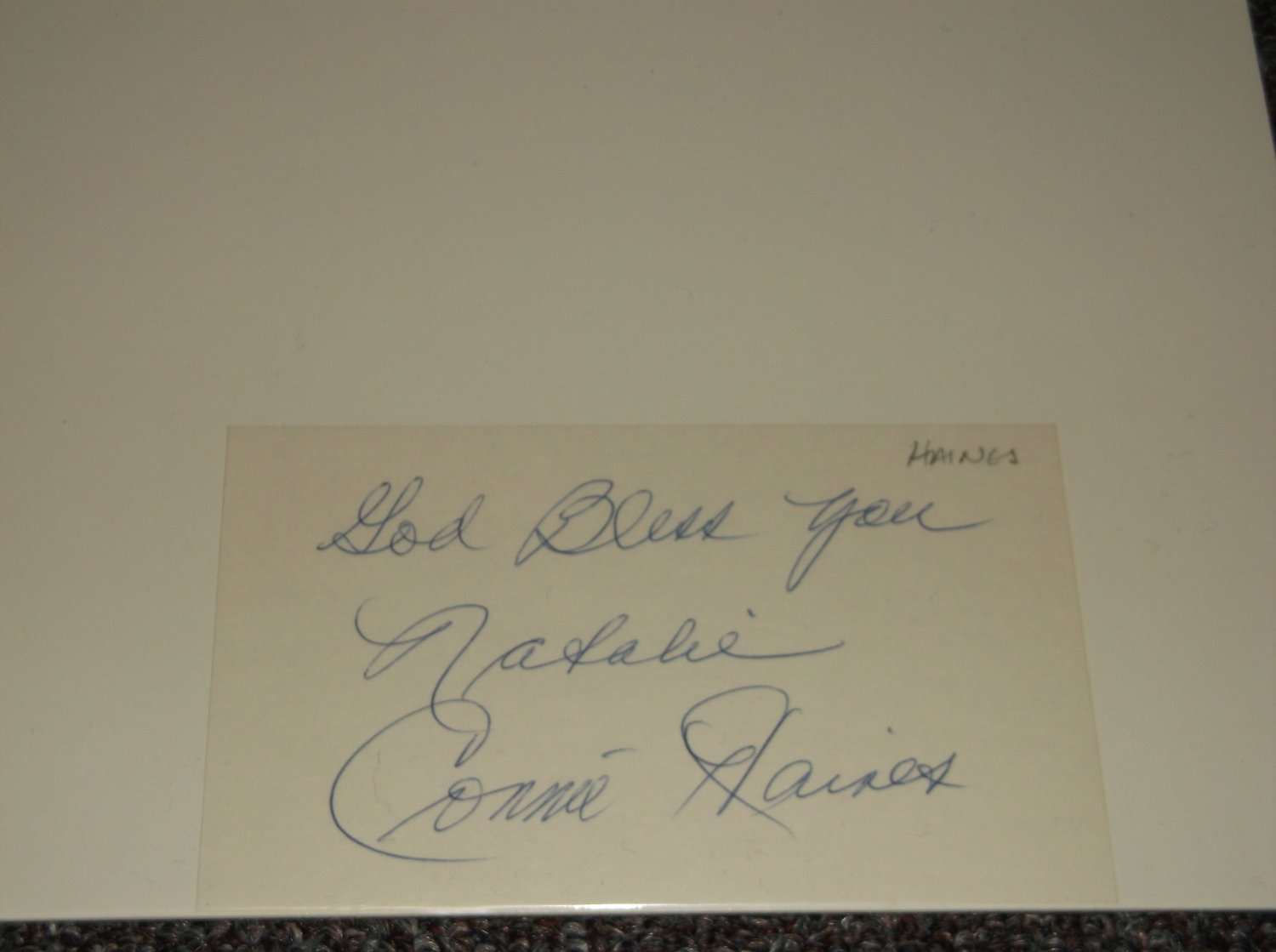 Connie Haines (1921-2008) signed inscribed 3x5 card