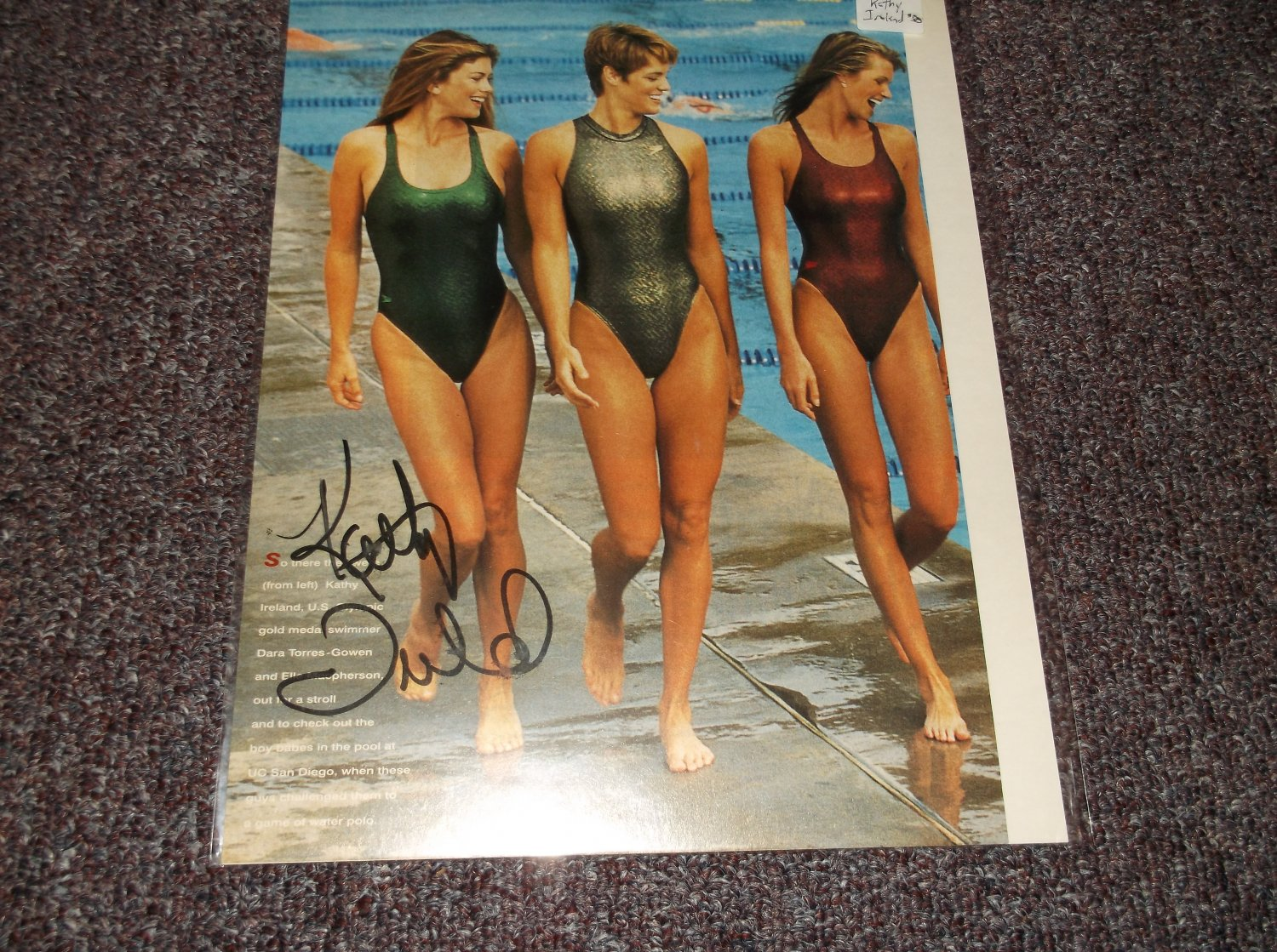 Kathy Ireland signed Sports Illustrated page