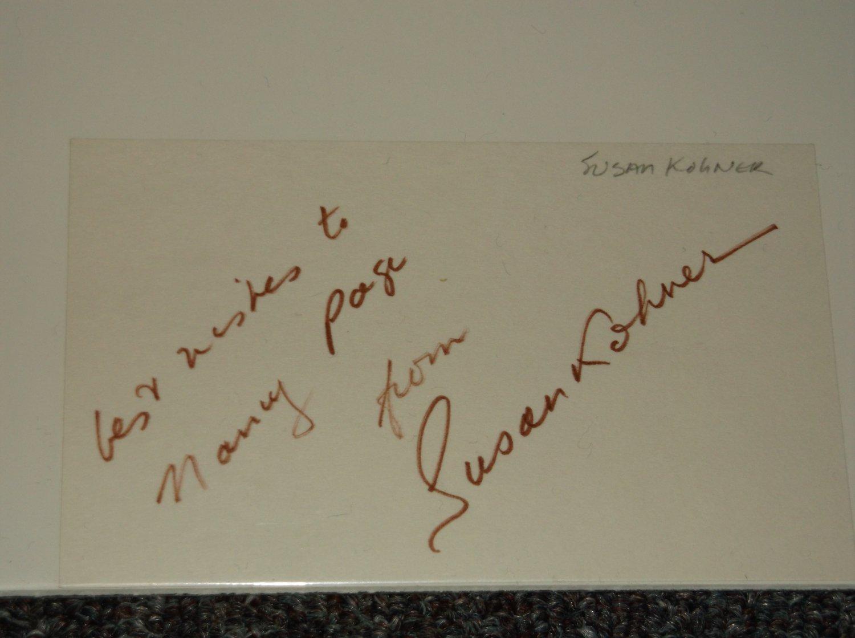 Susan Kohner signed inscribed 3x5 card