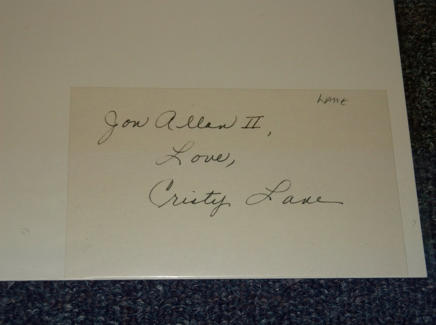 Cristy Lane signed inscribed 3x5 card, Country Music