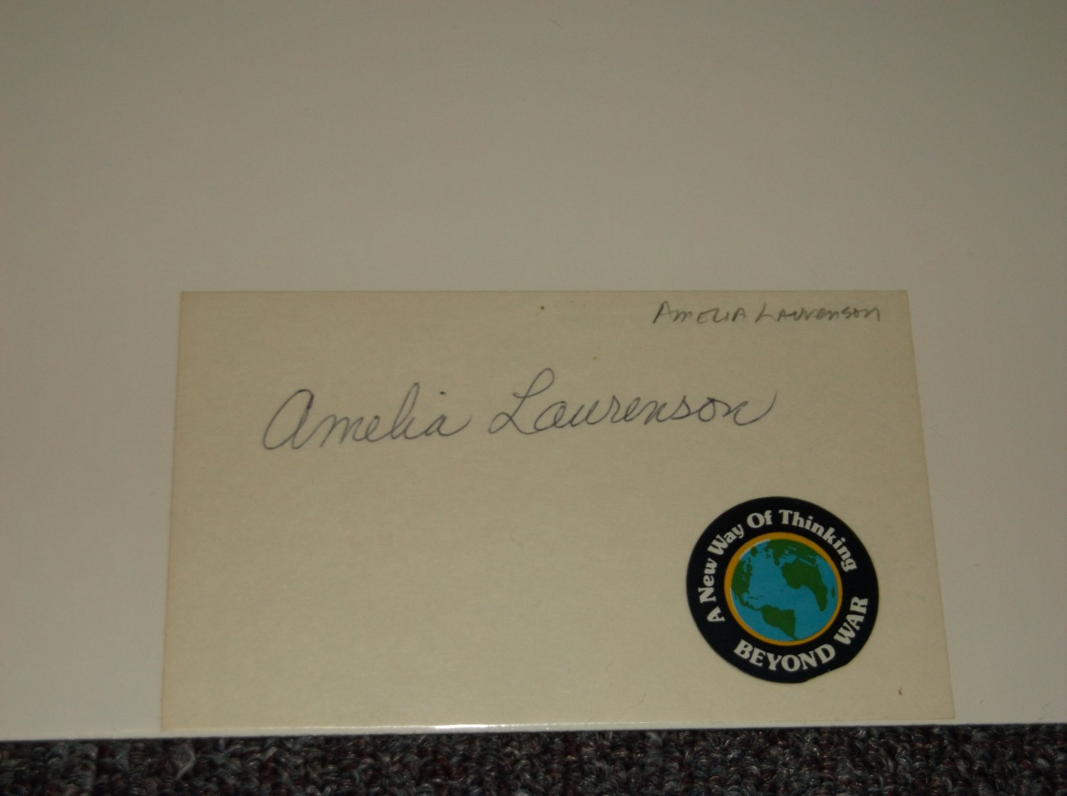 Amelia Laurenson signed 3x5 card, Broadway actress