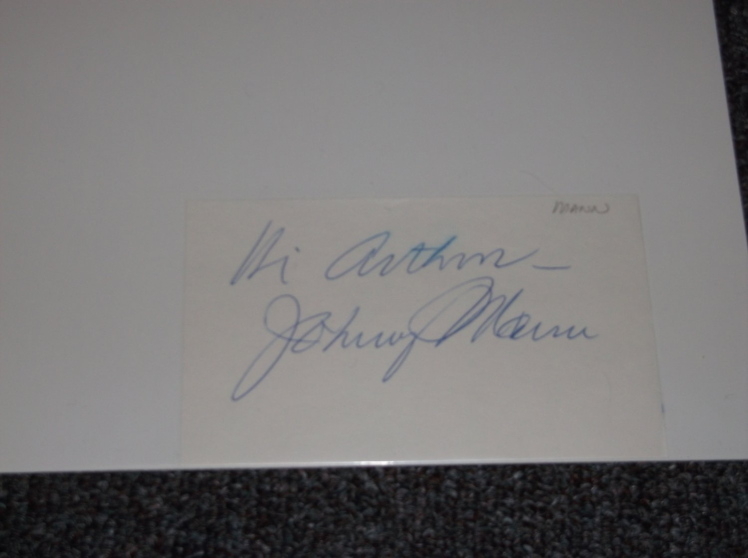 Johnny Mann (1928-2014) signed inscribed 3x5 card