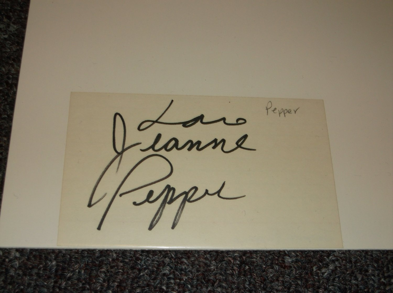 Jeanne Pepper signed 3x5 card, Adult Film Star