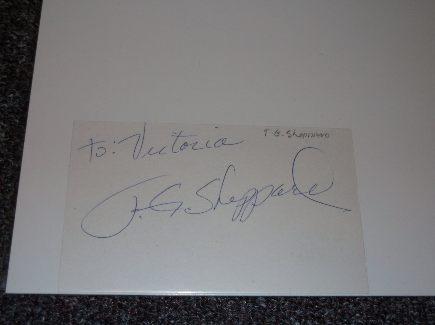 T. G. Sheppard signed inscribed 3x5 card Country Music