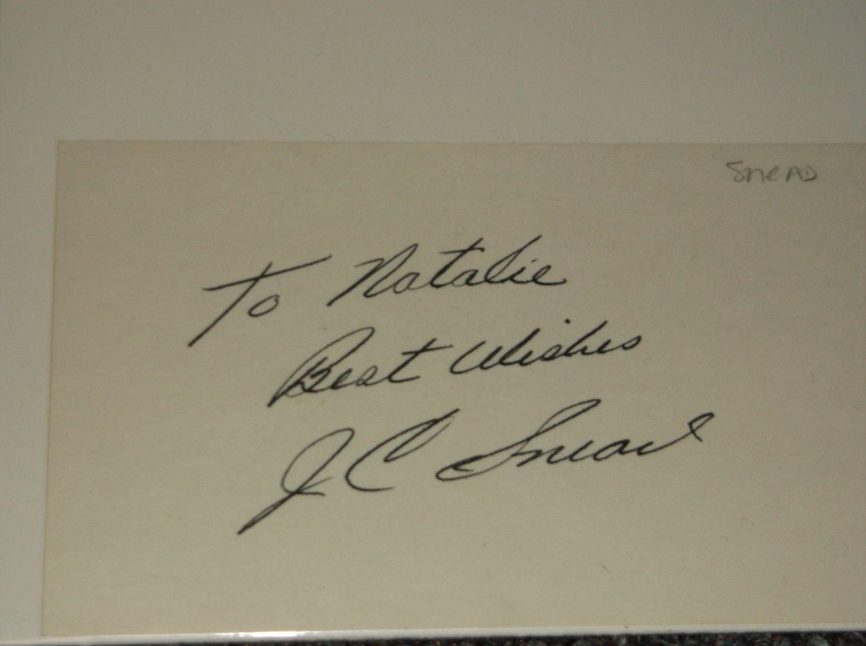 J. C. Snead signed inscribed 3x5 card PGA Golf