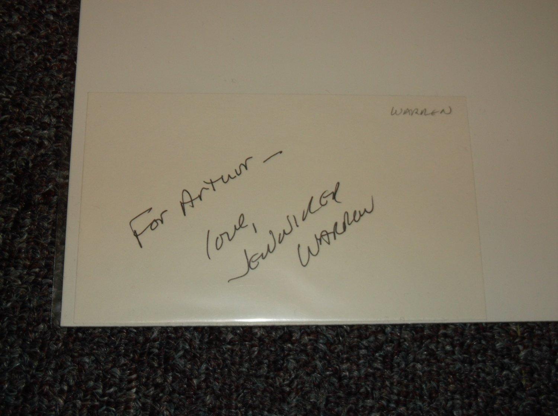 Jennifer Warren signed inscribed 3x5 card