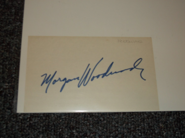 Morgan Woodward signed 3x5 card