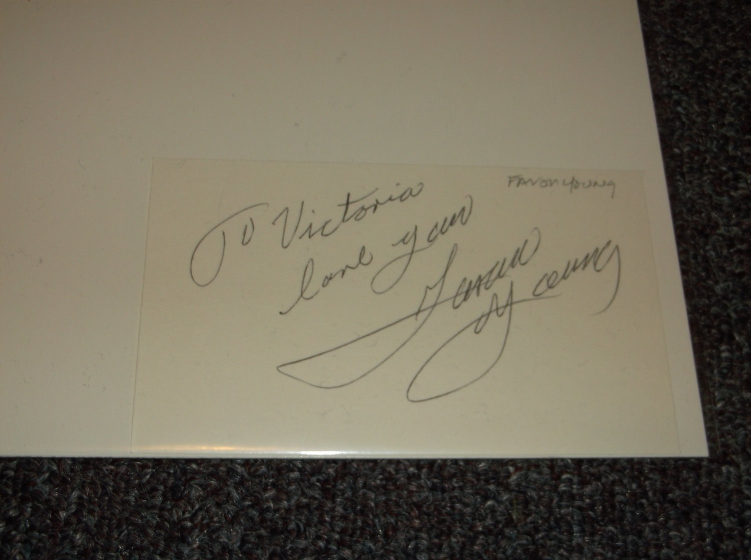 Faron Young (1932-1996) signed inscribed 3x5 card