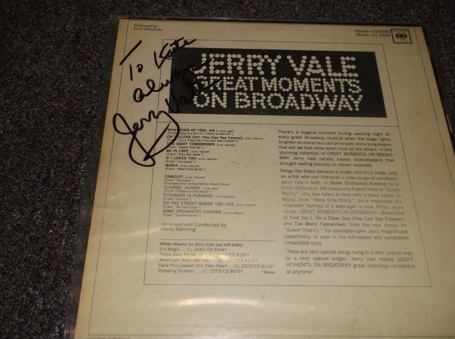 Jerry Vale 1930-2014 signed inscribed LP back cover